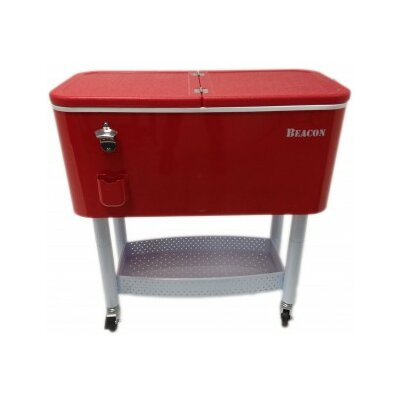 65 Qt. Rolling Party Cooler Color: Red