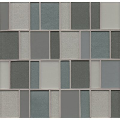 Contempo Glass Sized Glass Mosaic Tile in Ocean