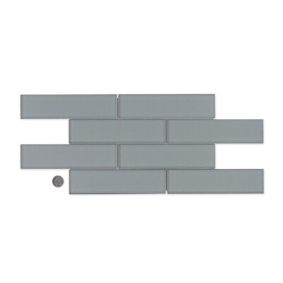 "Remy Glass 8"" x 16"" Glass Mosaic 2x8 Gloss Mesh Mounted Tile in Silver"
