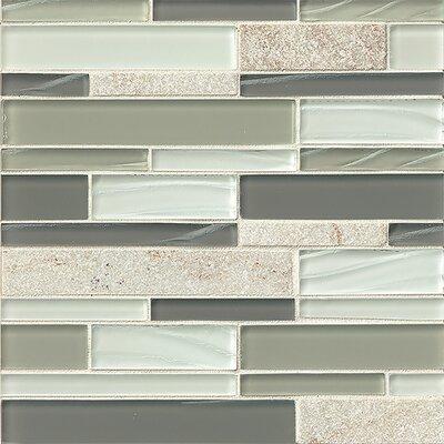 "Queenstown 12"" x 12"" Stone Mosaic Linear Tile in Grey"