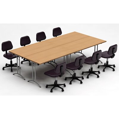 "Meeting Seminar 4 Piece Rectangular 30""H x 60""W x 120""L Conference Table Set Top Finish: Natural Beech"