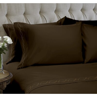 Duet Embroidered 4 Piece Sheet Set Color: Java, Size: Full