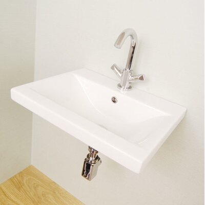 """Clever Ceramic 32"""" Wall Mount Bathroom Sink with Overflow"""
