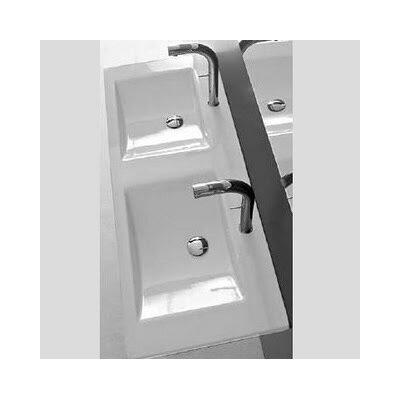 "Kloc Ceramic 49"" Trough Bathroom Sink with Overflow"