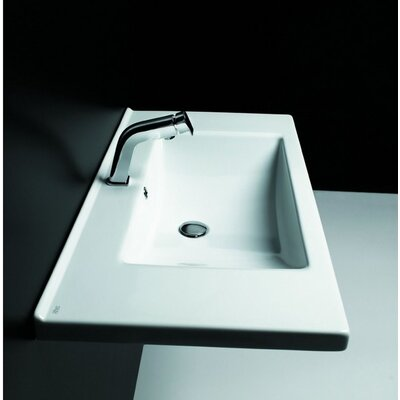 "Kloc Ceramic 37"" Wall Mount Bathroom Sink with Overflow"