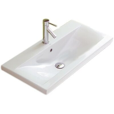 """Clever Ceramic 39"""" Wall Mount Bathroom Sink with Overflow"""