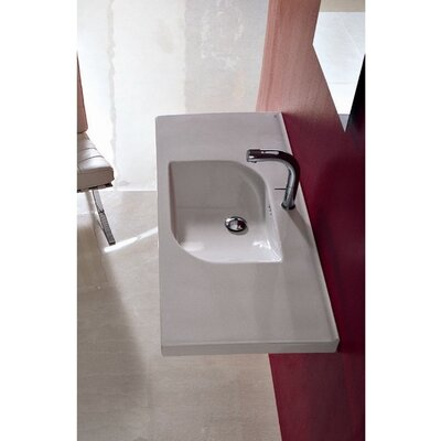 """Play Ceramic 41"""" Wall Mount Bathroom Sink with Overflow"""