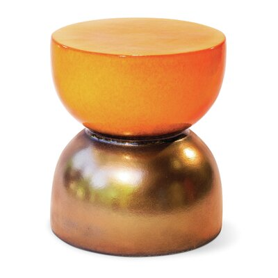 Time Accent Stool Finish: Orange / Metallic