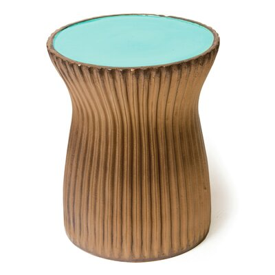 Ridged Ceramic Accent Stool Finish: Turquoise Blue / Ridged Metallic