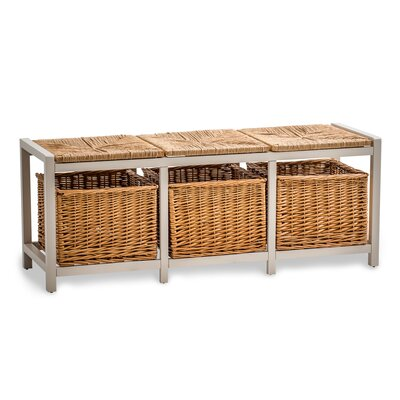 Maine Furniture Co. Country Farmhouse Storage with Wicker Pad Hallway Bench