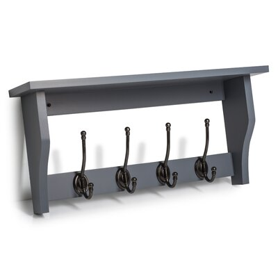 Calderwood Wood Wall Mounted Coat Rack Color: Dove Gray