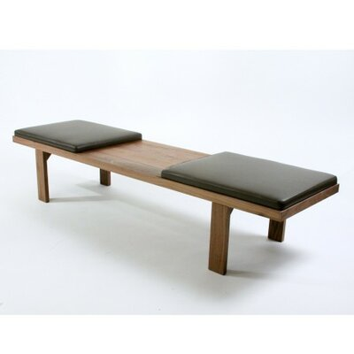 Mueller Bench Upholstery Color: Black Leather