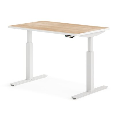 """OfficeFlex Sit-To-Stand Standing desk Size: 50.5"""" H x 48"""" W x 30"""" D, Finish: Pine / White"""
