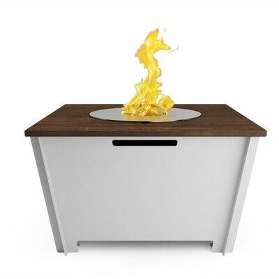 Steel Bio-Ethanol Fuel Fire Pit Table Color: White