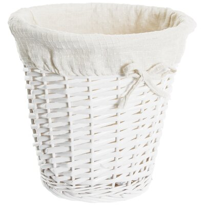 Old Basket Supply Ltd Lined Storage Round Wastepaper Basket with Liner