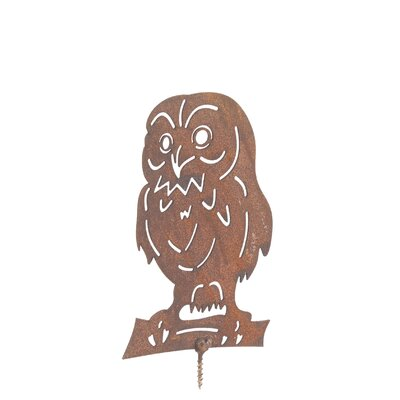 Old Basket Supply Ltd Rusty Small Owl Garden Sign