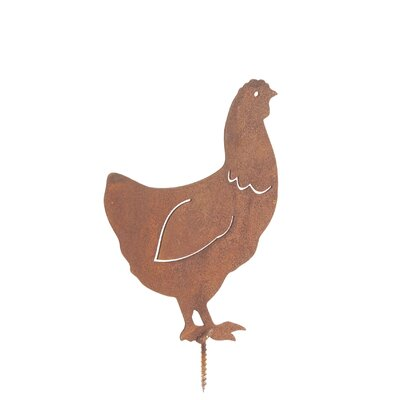Old Basket Supply Ltd Rusty Chicken Garden Stake