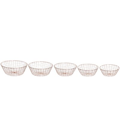 Old Basket Supply Ltd New Season 5 Piece Round Brass Basket Set