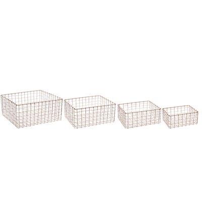 Old Basket Supply Ltd New Season 4 Piece Rect Brass Storage Basket Set