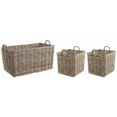 Old Basket Supply Ltd 3 Piece Rectangle Rattan Basket Set