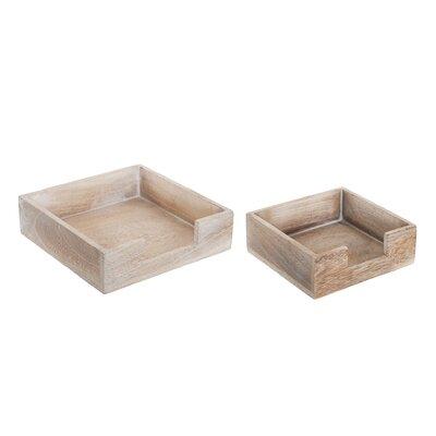 Old Basket Supply Ltd 2 Piece Square Wooden Napkin Box Set