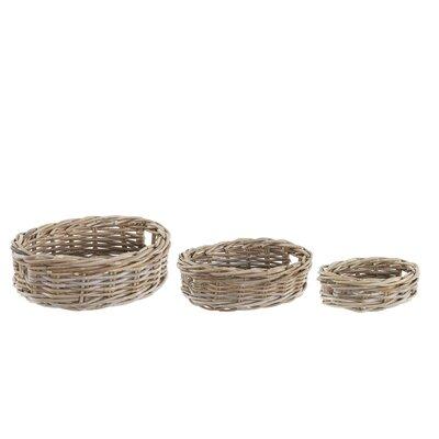 Old Basket Supply Ltd 3 Piece Oval Rattan Basket Set