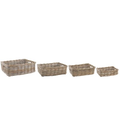 Old Basket Supply Ltd 4 Piece Rectangle Rattan Storage Basket Set