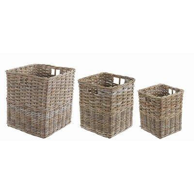 Old Basket Supply Ltd 3 Piece Square Rattan Log Basket Set