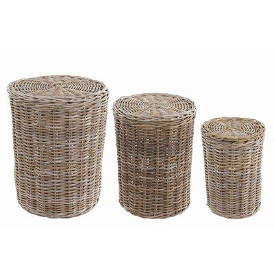 Old Basket Supply Ltd 3 Piece Round Rattan Linen Basket Set