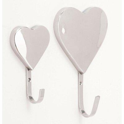 2 Piece Sparkling Heart Designed Wall Hook Set