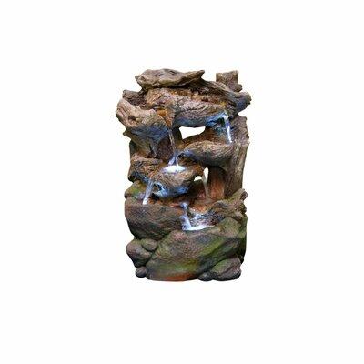 Resin Tiered Rainforest Waterfall Fountain with Light