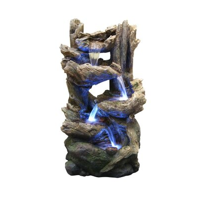 Resin Tiering Rainforest Fountain with Light