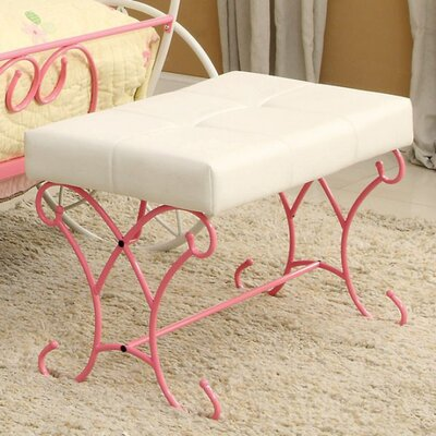 Barwick Enchant Metal Bench Color: White/Pink
