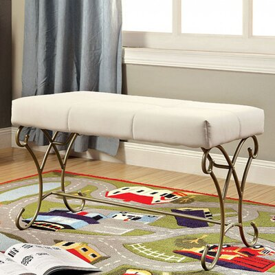 Barwick Enchant Metal Bench Color: White/Champagne