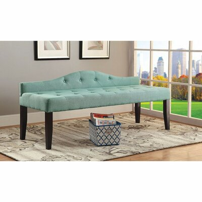 Caravelle Wood Bench Upholstery: Blue, Size: Large