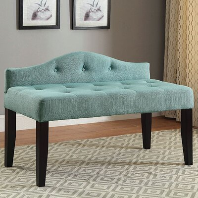Caravelle Wood Bench Upholstery: Blue, Size: Small