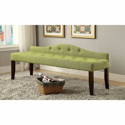 Caravelle Wood Bench Upholstery: Green, Size: Large