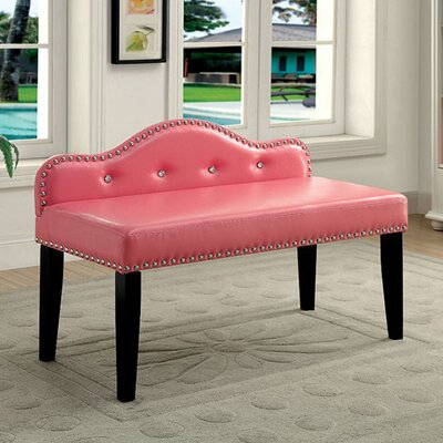 """Carcassonne Wood Bench Size: 27"""" H x 42"""" W x 19"""" D, Upholstery: Ivory"""