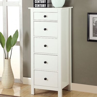 Aishya 5 Drawer Accent Chest Color: White
