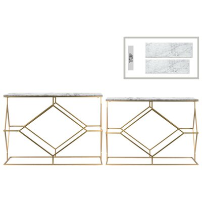 Height Contemporary 2 Piece Console Table Set with Marble Top and Diamond Design