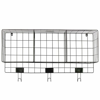 Petree Metal Wall Mounted Coat Rack with 3 Slots 3 Hooks and 3 Card Holders