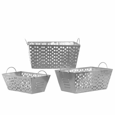 Metal 3 Piece Basket Set with Metal Handles and Punched Hole Sides