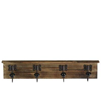 Petrina Wood Wall Mounted Coat Rack with 4 Ceramic Hooks Color: Black