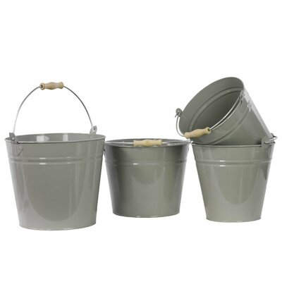 Crafted Metal 4 Piece Bucket Set with Wood Handle Color: Gray