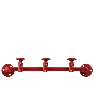 Kristian Plumbing Theme Metal Wall Mounted Coat Rack with 3 Faucet Hooks Color: Red