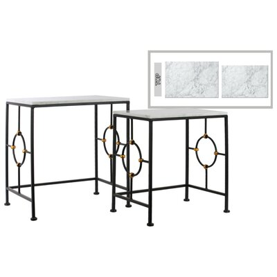 Anchoretta Rectangular 2 Piece Console Table Set with Marble Top