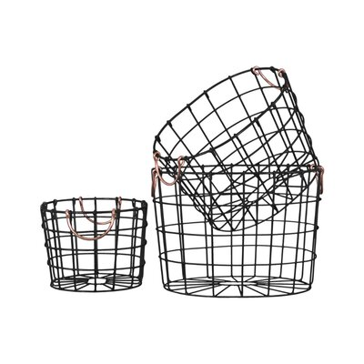 Round Nesting Wire 3 Piece Basket Set with 2 Handles Color: Black