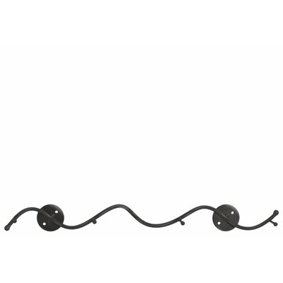 Kittle Wavy Metal Bar Wall Hanger with 4 Hooks- G- Benzara Color: Gray