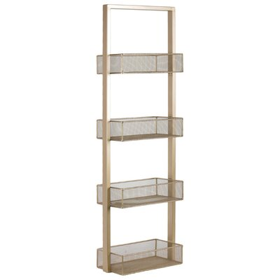 """39.75"""" H x 12.25"""" W Strong Alluring Iron Shelving Unit with 4 Wire Mesh Bins Finish: Gold"""
