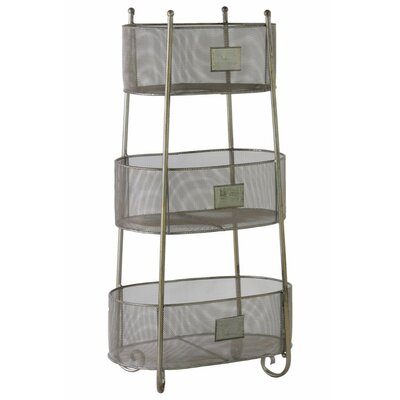 """28.25"""" H x 14.75"""" W Iron Oval Shelving Unit with 3 Wire Mesh Sides Bins and 3 Slots Finish: Silver"""